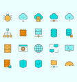 hosting line icons set simple minimal pictograms vector image vector image