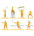 Human tennis silhouettes vector image vector image