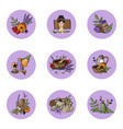 icons relaxation spa massage organic cosmetic vector image