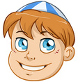 Jewish Boy Head With Blue And White Kippah vector image vector image