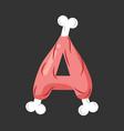 letter a meat font pork and bone alphabet sign vector image