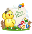 Little chicken and Easter eggs with a paper scroll vector image