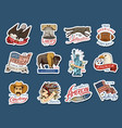 native american stickers old labels or badges vector image