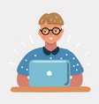 nerd geek boy with laptop vector image