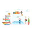 online education concept with students characters vector image vector image