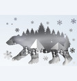 paper art of forest lanscape snow with polar bear vector image vector image