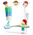 Paper design with children and toothbrush vector image vector image