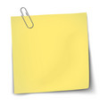 paper mockup yellow note attached metallic vector image vector image