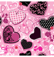 Pink and black Hearts - seamless pattern vector image vector image