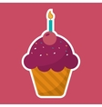 pink cupcake chips with cherry candle birthday vector image vector image