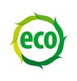 Round eco logo with green leaves vector image vector image