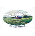 rural landscape in engraving and vintage style vector image