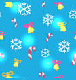 seamless blue pattern with christmas decorations vector image vector image