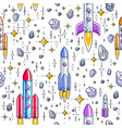 seamless space background with rockets stars and vector image vector image