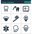 Set of modern icons Dental treatment tooth vector image