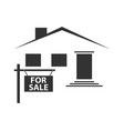 silhouette a house with a signboard for sale vector image