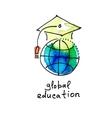 sketch watercolor icon of global education vector image