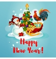 Snowman rooster and pine tree vector image vector image