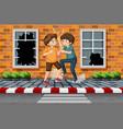 street boy fighting in town vector image