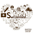 Symbols of Switzerland in heart shape concept vector image vector image
