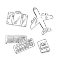 Travel icons with plane bag tickets and passport vector image vector image