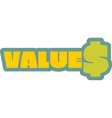 Values outline yellow sticker vector image