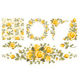 vintage yellow roses set vector image