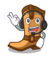 With headphone leather cowboy boots shape cartoon