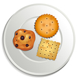 A plate with biscuits vector image vector image