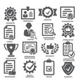approvement and accreditation icons set on white vector image vector image