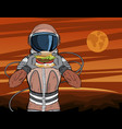 astronaut with fast food hamburger vector image vector image