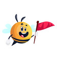 bee holding red flag on white background vector image vector image