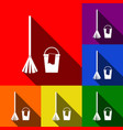 broom and bucket sign set of icons with vector image vector image