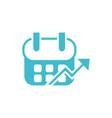calendar growth arrow business finance color vector image