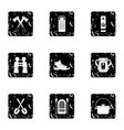 Camp icons set grunge style vector image vector image
