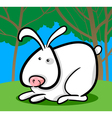 cartoon of white bunny vector image vector image