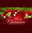 christmas background with ribbon bells pine cone vector image vector image