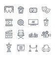 cinema and movie line icons set vector image