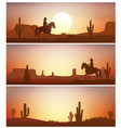 cowboy riding horse against sunset background vector image