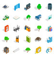 Cozy places icons set isometric style vector image