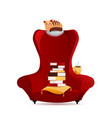 cozy vintage armchair with stack books cat vector image vector image