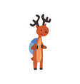 cute deer animal cartoon character standing with vector image vector image