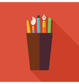 flat cup with office writing supplies tools vector image