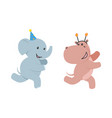 flat elephant hippo character fun running vector image