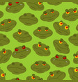 frog seamless pattern amphibian ornament toad vector image