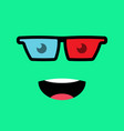 funny emotion emoji in 3d glasses smile face vector image