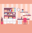 girl room with workplace interior vector image vector image