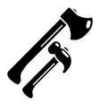 hammer and axe icon simple style vector image vector image