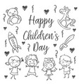 hand draw childrens day style vector image vector image