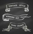 hand-drawn chalk vintage ribbons set on blackboard vector image